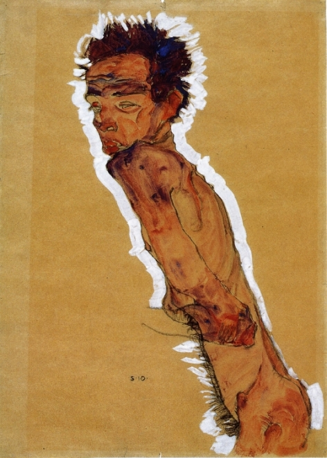 Male-Nude-in-Profile-Facing-Left-Egon-Schiele-oil-painting