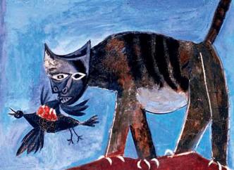 1939, Pablo Picasso, gato e pássaro
